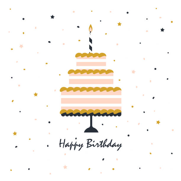 happy birthday card with cake - happy birthday cake stock illustrations, clip art, cartoons, & icons