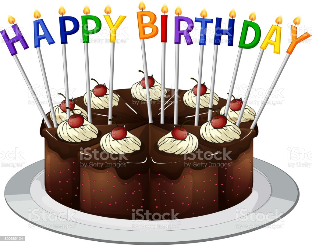Happy Birthday Card With Chocolate Cake And Candles Stock Vector Art