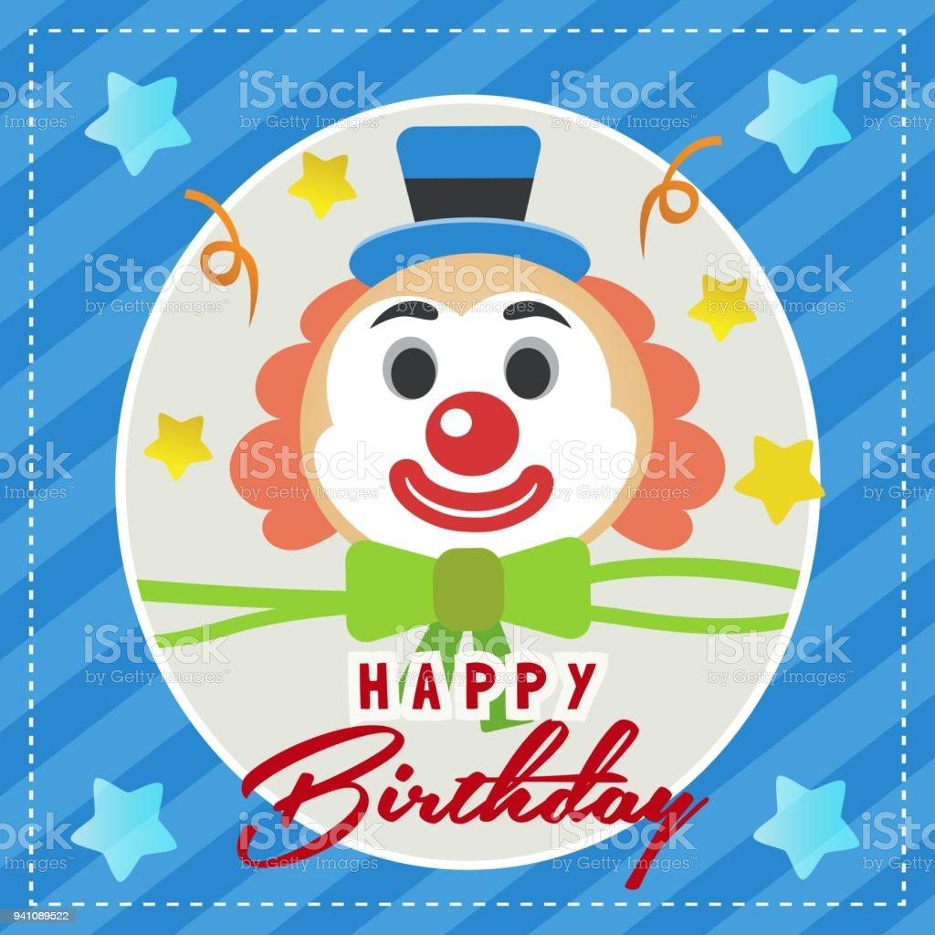 Carte De Joyeux Anniversaire Avec Clown Vecteurs Libres De Droits Et Plus D Images Vectorielles De Anniversaire Istock