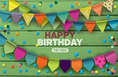 Happy Birthday card with colorful paper garlands and confetti on green wooden background.Vector illustration