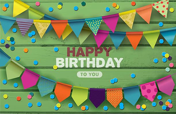 Cartão de feliz aniversário com guirlandas e Confete de papel coloridos - ilustração de arte em vetor