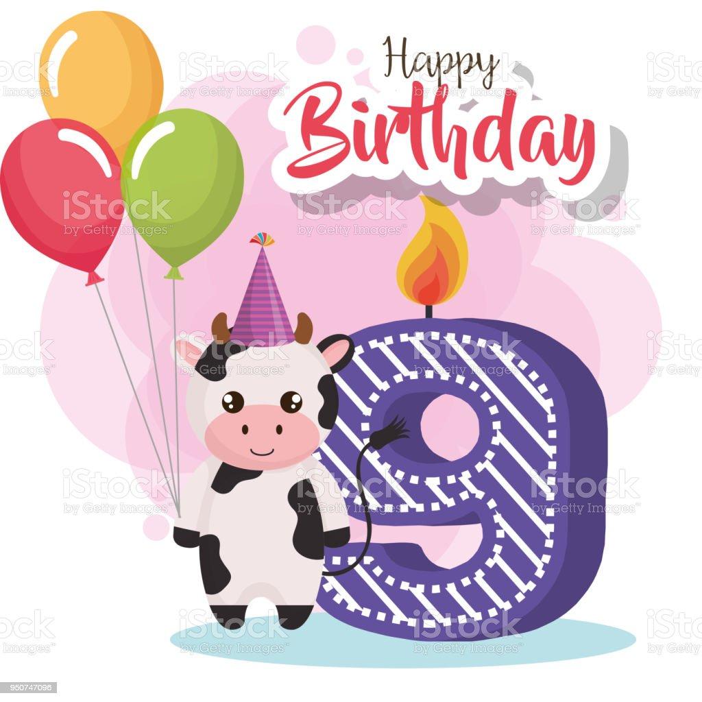 Carte De Joyeux Anniversaire Avec Vache Cliparts Vectoriels Et