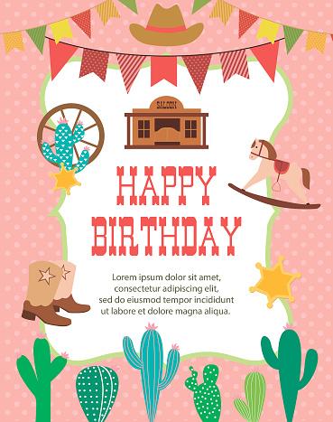 Happy Birthday card with cowboy theme