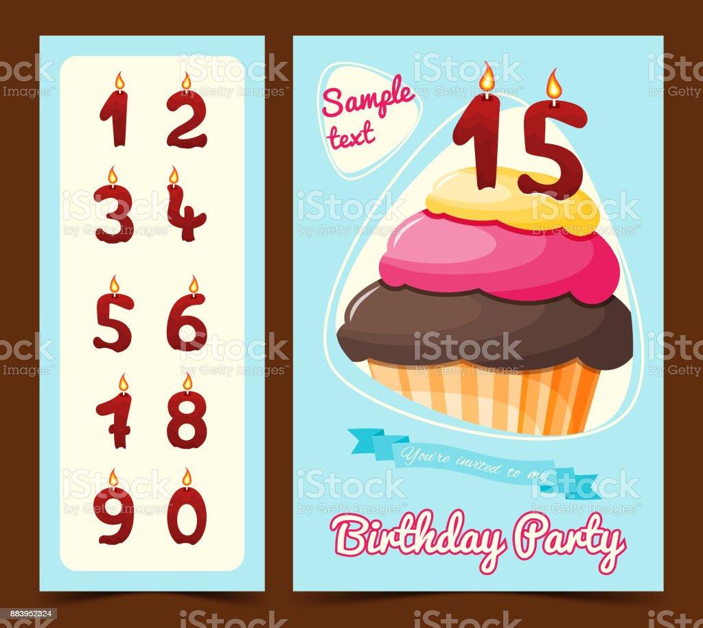 Happy birthday card with cupcake. Birthday card. Vector