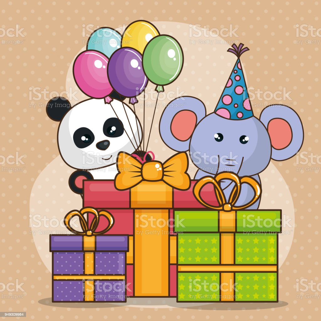 Happy Birthday Card With Cute Animals Royalty Free Stock