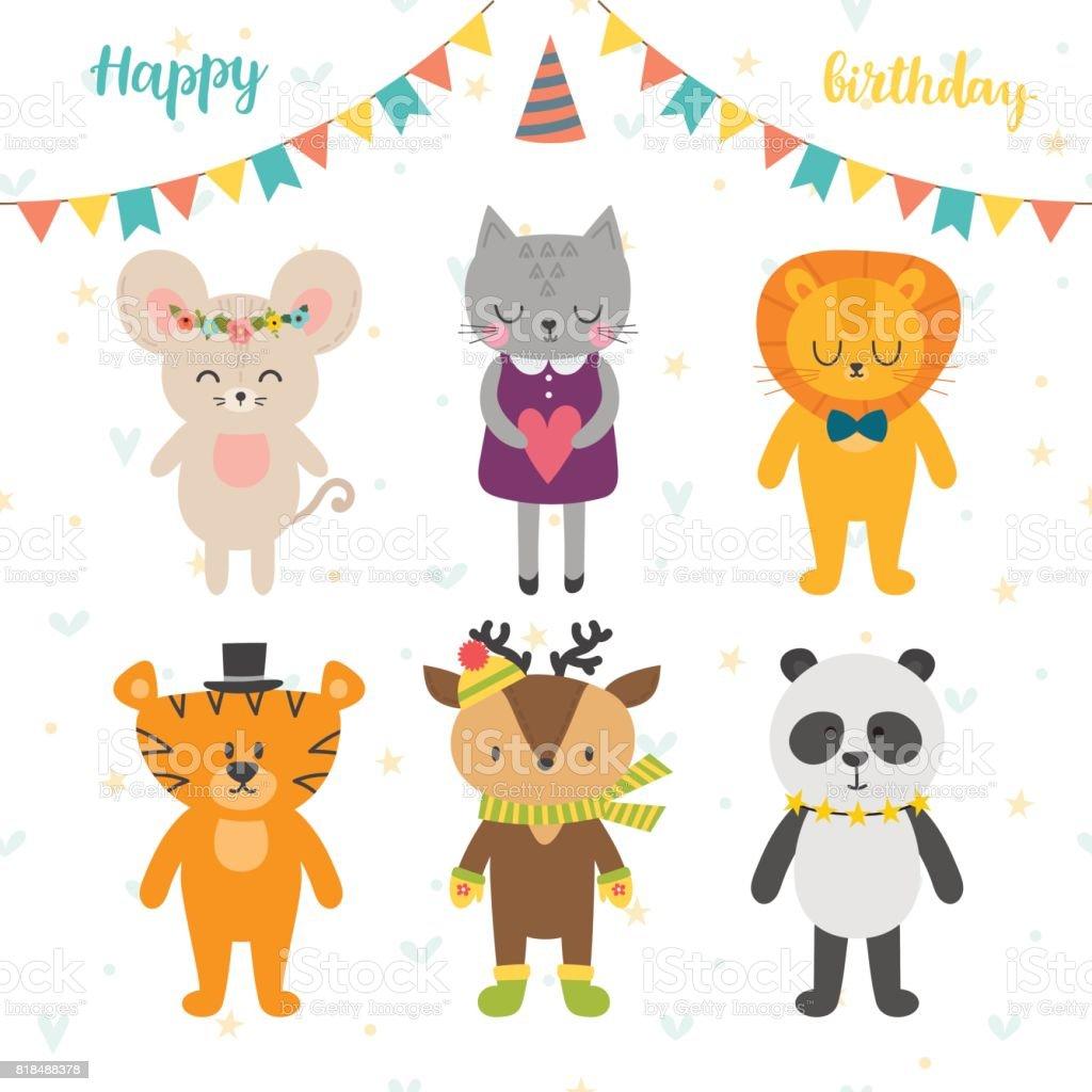 Happy Birthday Card Mit Niedlichen Cartoon Tiere Lizenzfreies