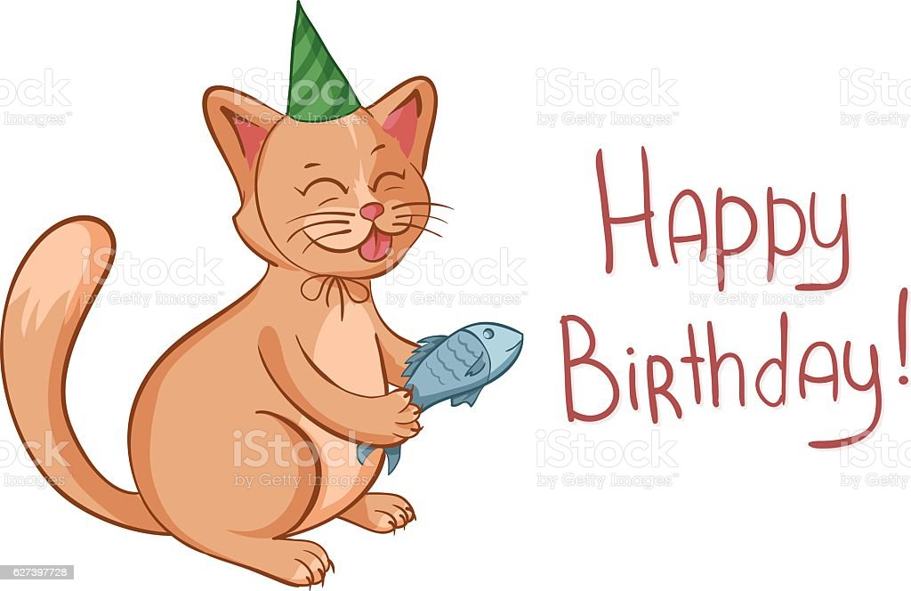 Happy Birthday Card With Cute Cartoon Cat Gives Fish Lizenzfreies