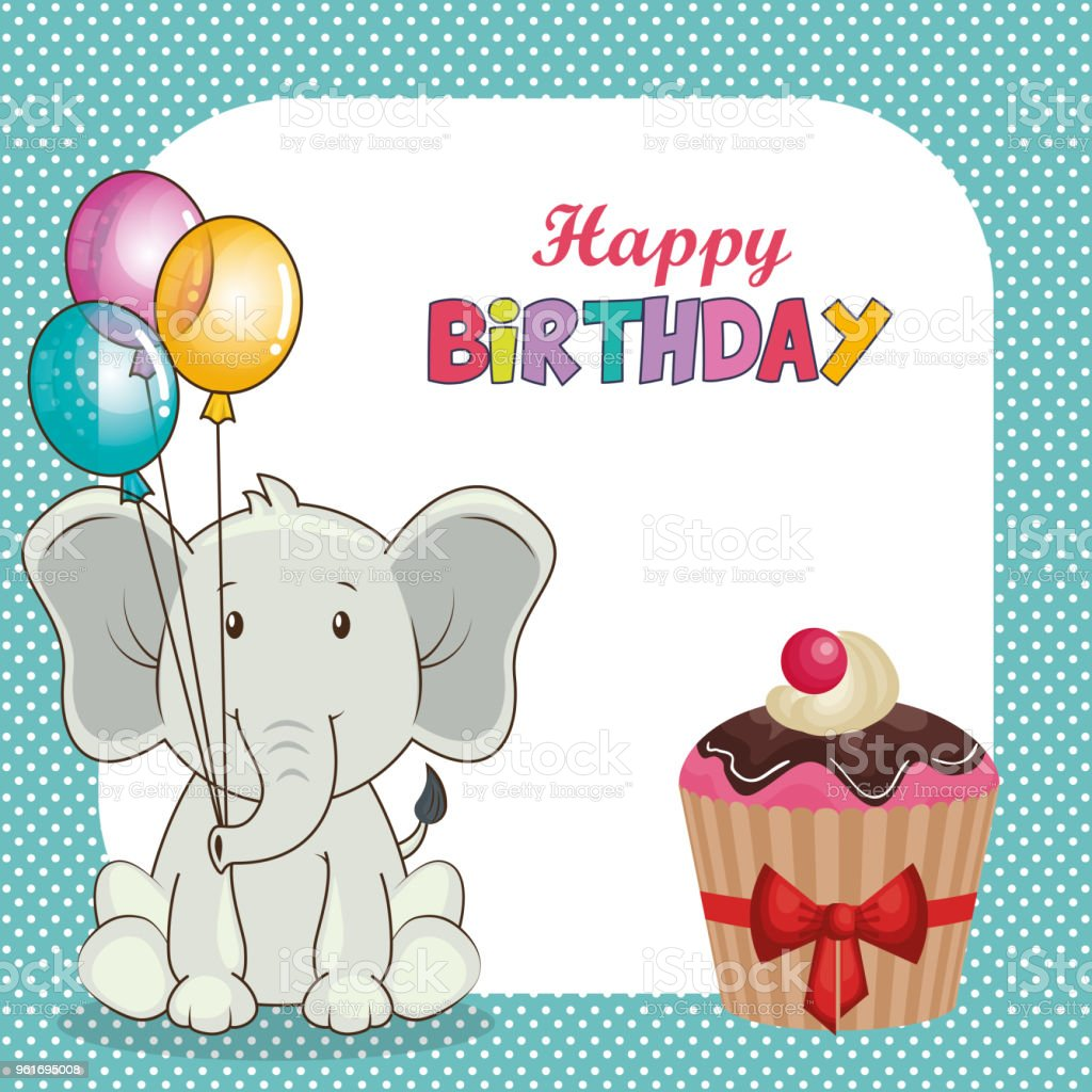 Happy Birthday Card With Cute Elephant Royalty Free Stock