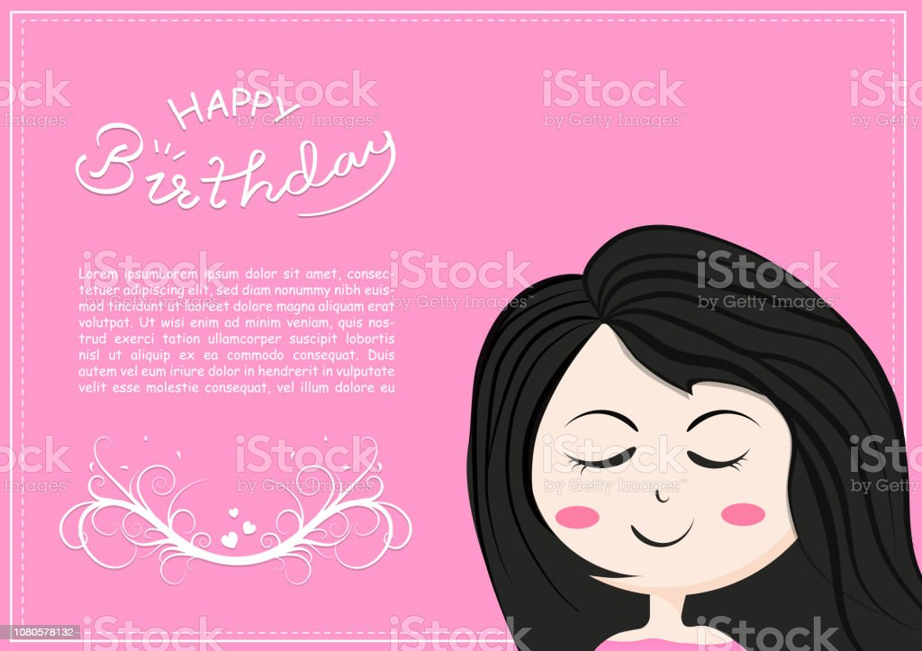 Happy Birthday Card With Cute Girl Smiles Cartoon Character Lettering Of Kids And Children Romantic Calligraphy Celebration Poster Vector Illustration