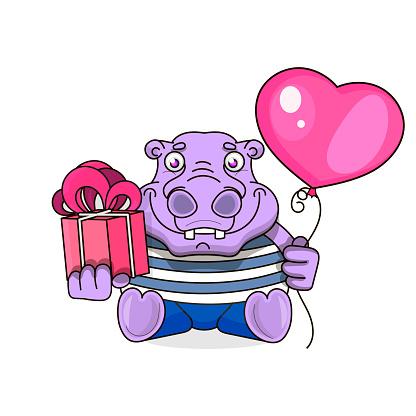 happy birthday card with cute hippo