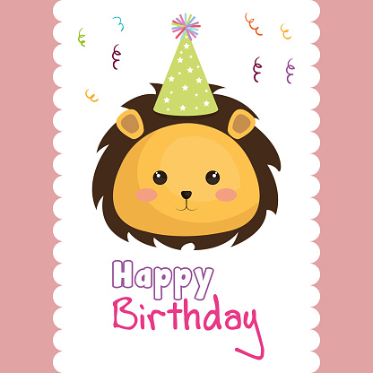 happy birthday card with cute leon character