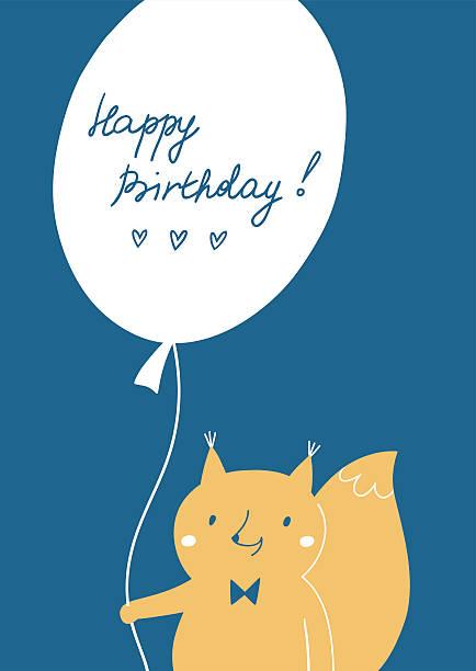 illustrations, cliparts, dessins animés et icônes de carte de joyeux anniversaire avec un mignon écureuil - ballon anniversaire smiley