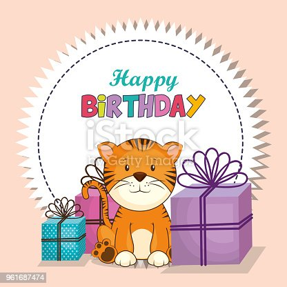 Happy Birthday Card With Cute Tiger Stock Vector Art More Images