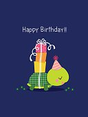 Illustration of happy birthday card with cute turtle on blue background