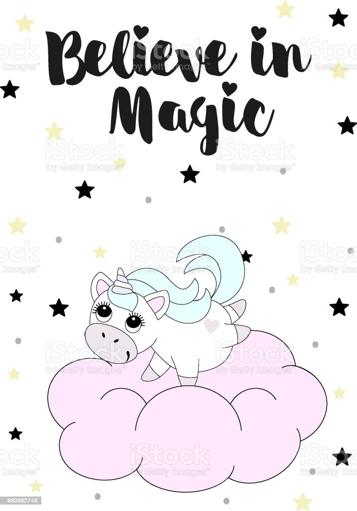 Happy Birthday Card With Cute Unicorn Icon Over White Background