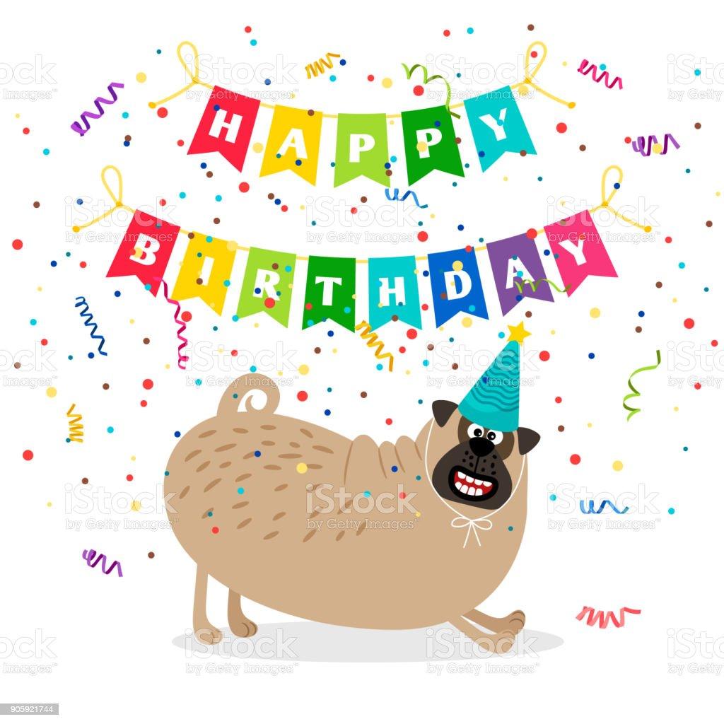 Happy Birthday Card Mit Hund Lizenzfreies Stock Vektor Art Und Mehr