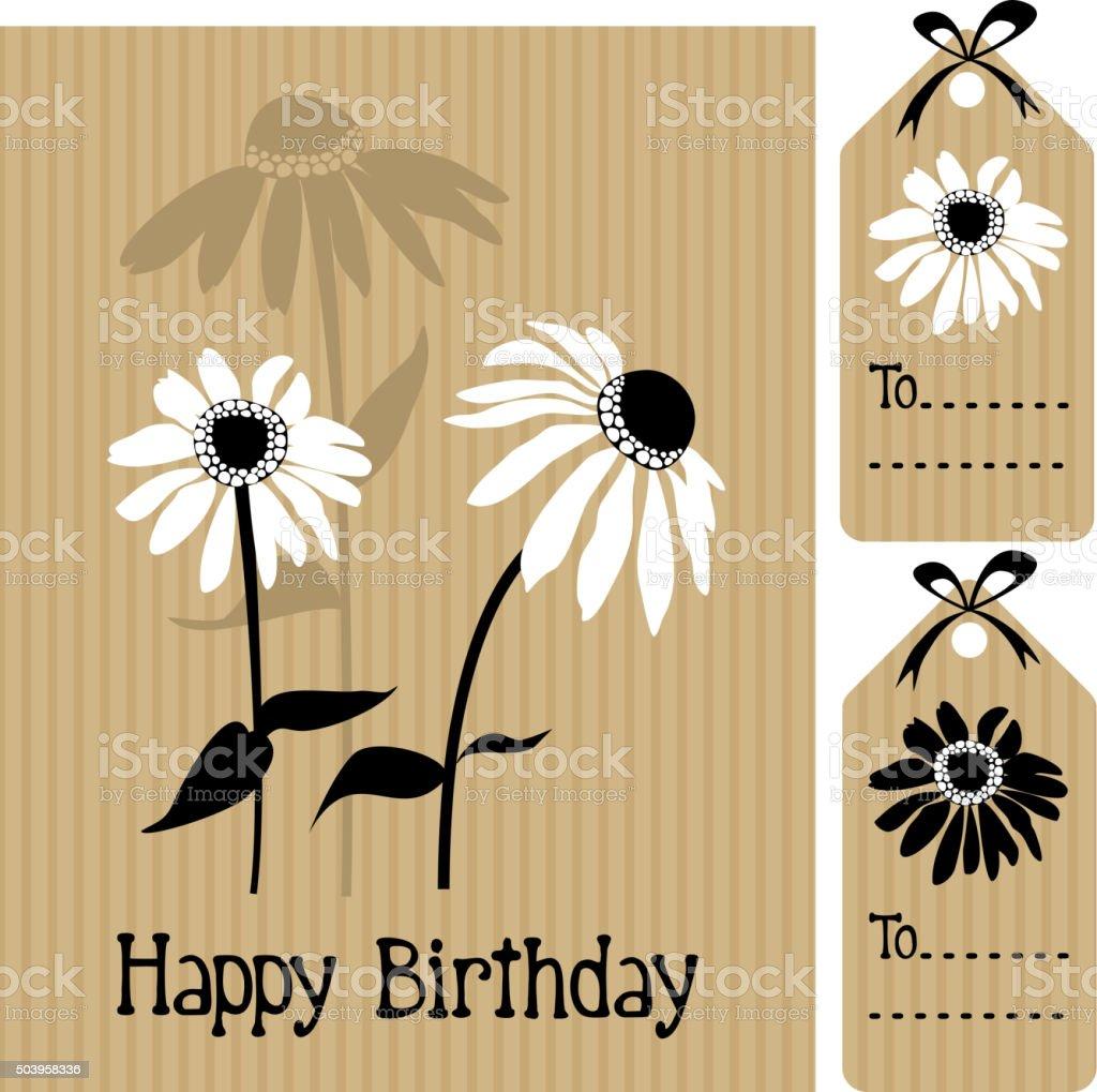 Happy Birthday card with echinacea, daisy flower, vector illustration vector art illustration
