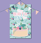 happy birthday card with floral and cake vector illustration design