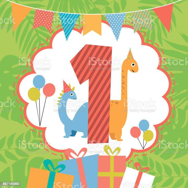 Happy birthday card with fun dinosaur and nomber vector illustration vector id887146992?b=1&k=6&m=887146992&s=612x612&h=avd3w notdbpwazss38xl wturjpd8pvfbkewnwrsx8=
