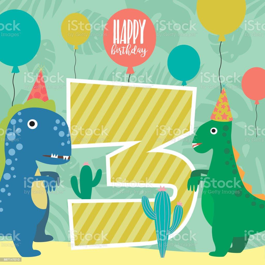 Happy Birthday Card Mit Lustigen Dinosaurier Und Nomber Vektor Illustration Lizenzfreies
