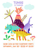 Happy Birthday card with fun dinosaur, Dino arrival announcement, greetings in Vector illustration