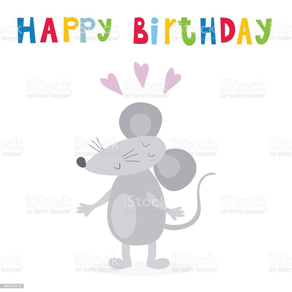 Happy birthday card with funny cute mouse cartoon style stock vector happy birthday card with funny cute mouse cartoon style royalty free happy birthday card bookmarktalkfo Gallery