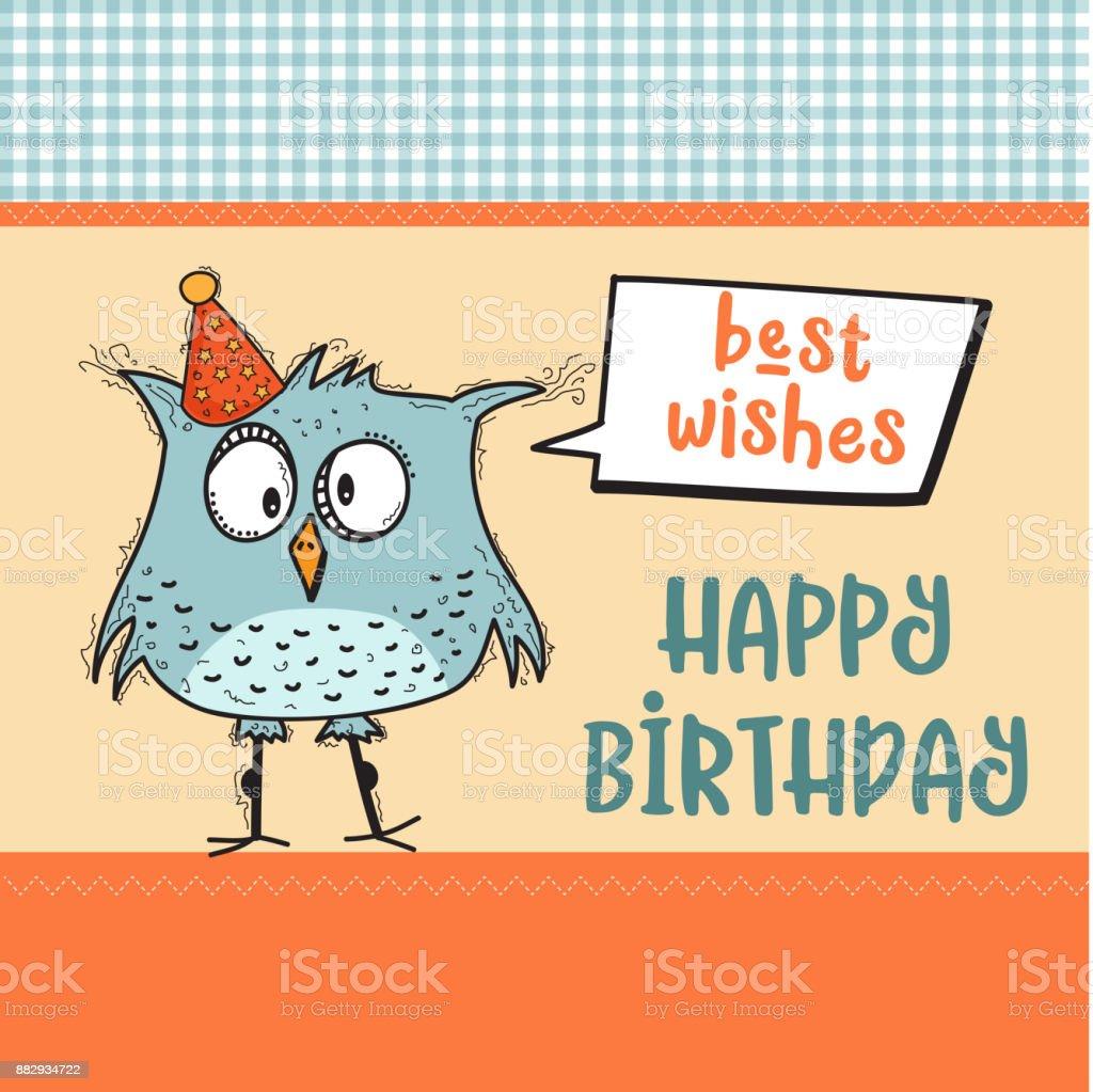 Gelukkige Verjaardagkaart Met Grappige Doodle Vogel Stockvectorkunst