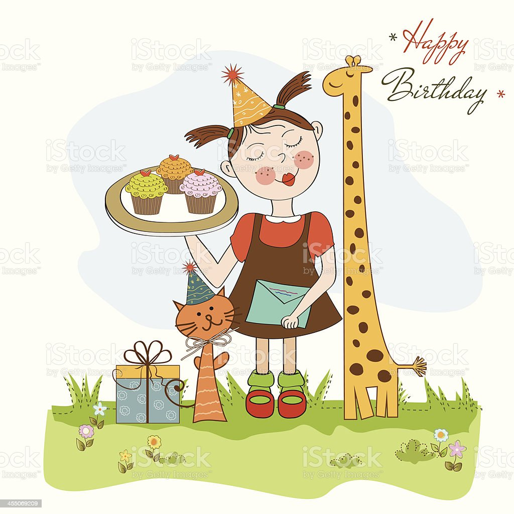 Happy Birthday Card With Funny Girl Animals And Cupcakes Royalty Free