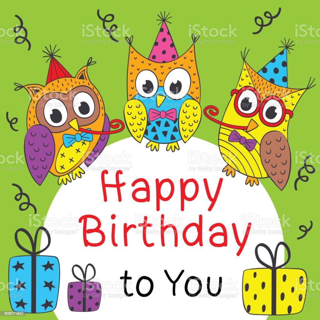 Happy Birthday Card Mit Lustige Eulen Lizenzfreies Stock Vektor Art