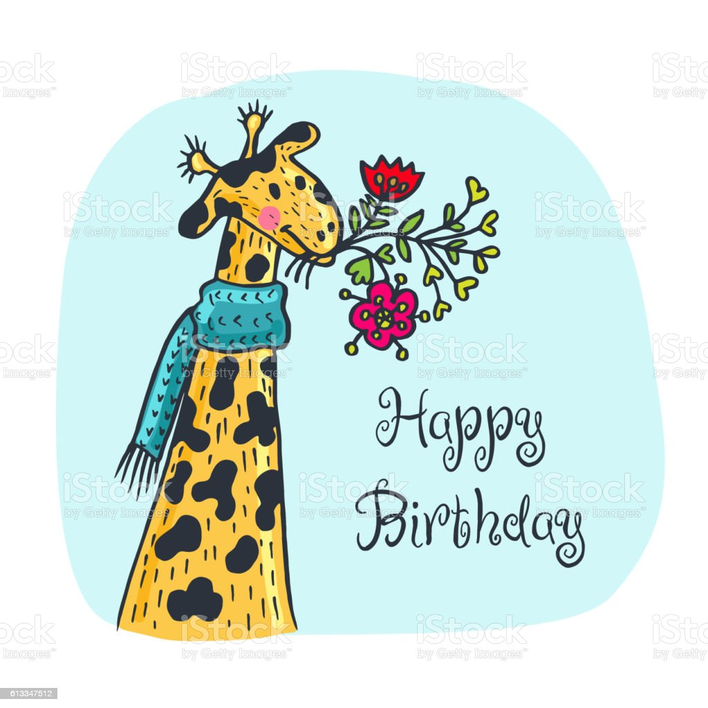 Happy Birthday Card With Giraffe Character And Flowers Stock Vector