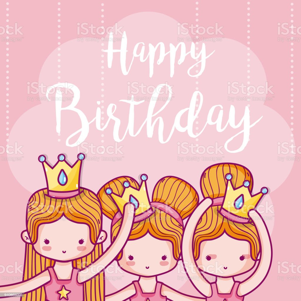 Admirable Happy Birthday Card With Girls Ballet Dancers Stock Illustration Funny Birthday Cards Online Elaedamsfinfo