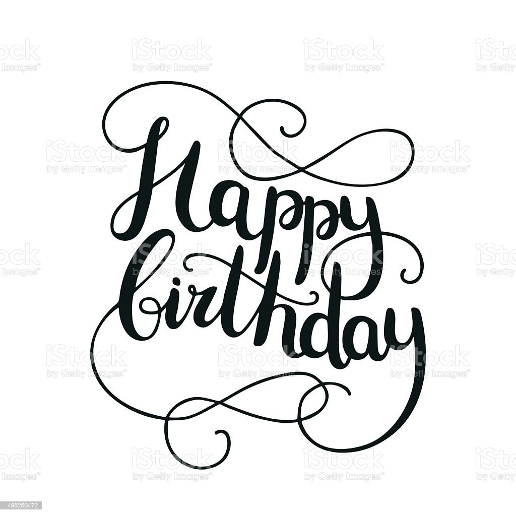 Happy Birthday Card With Hand Drawn Lettering stock vector art