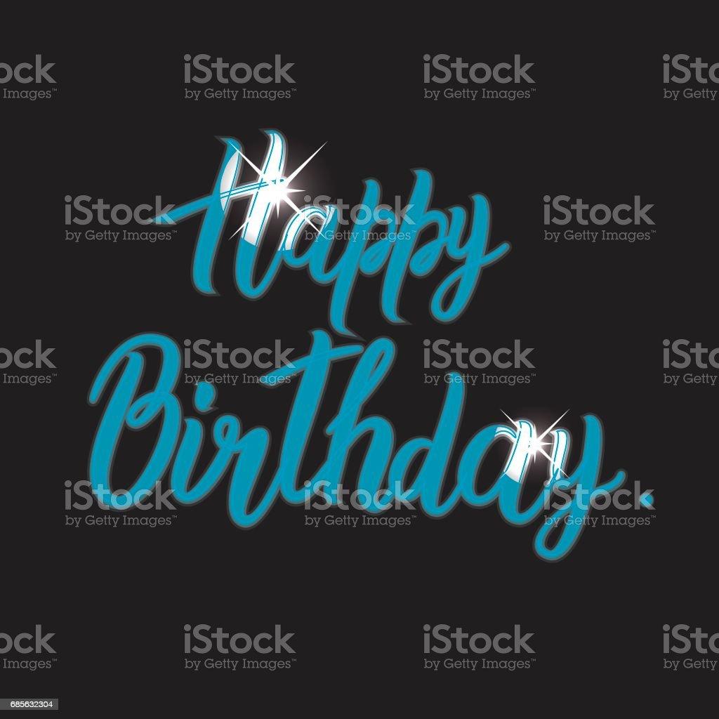 生日快樂卡與手工字母書法 免版稅 生日快樂卡與手工字母書法 向量插圖及更多 事件 圖片