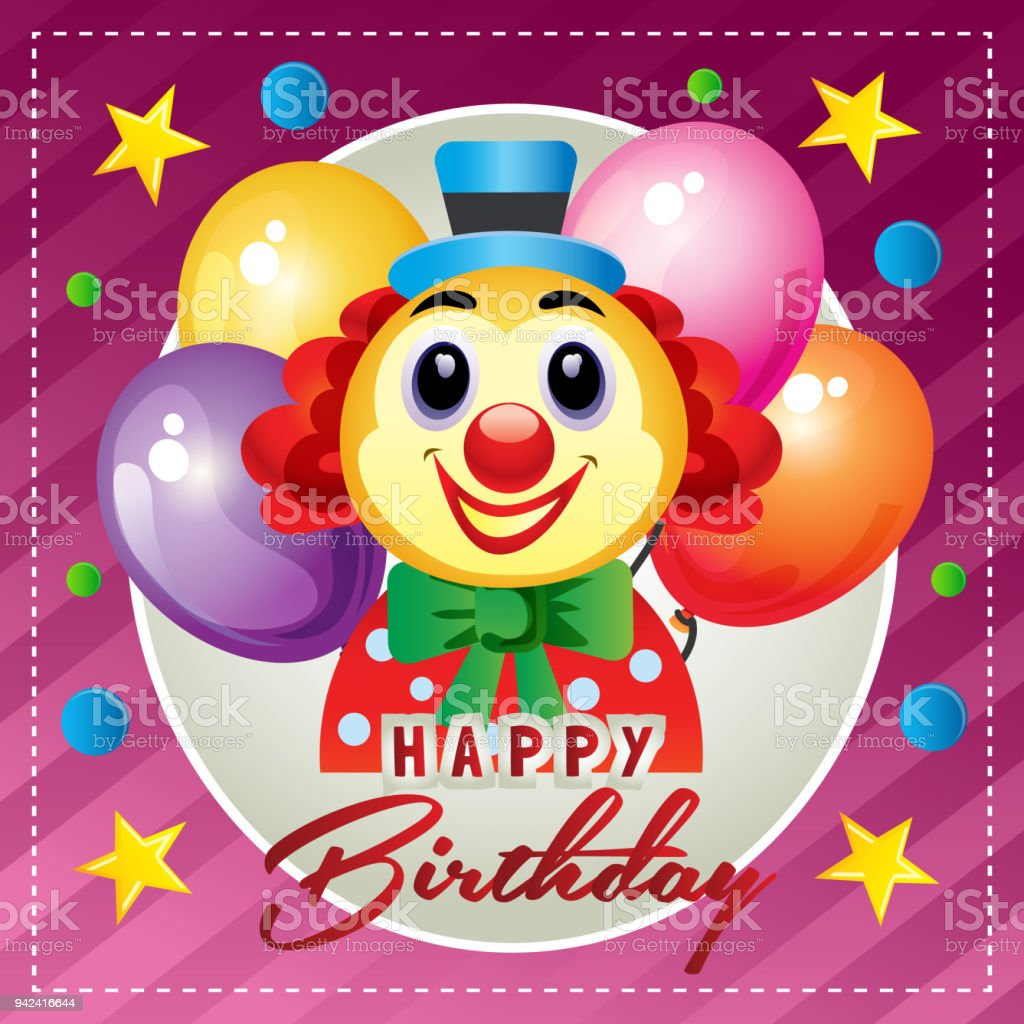 Outstanding Happy Birthday Card With Happy Clown Stock Illustration Download Funny Birthday Cards Online Elaedamsfinfo