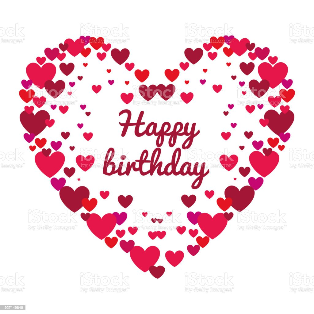 Happy Birthday Card With Heart Love Royalty Free Stock