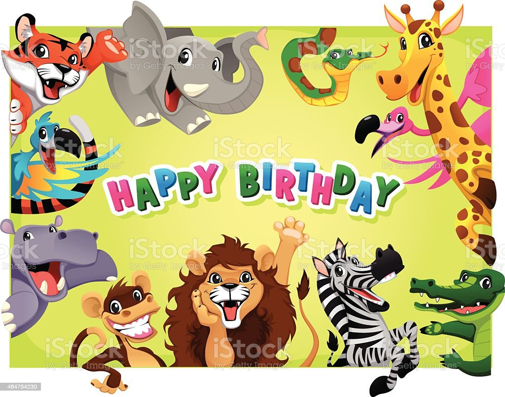 Happy Birthday card with Jungle animals - Royalty-free 2015 stock vector