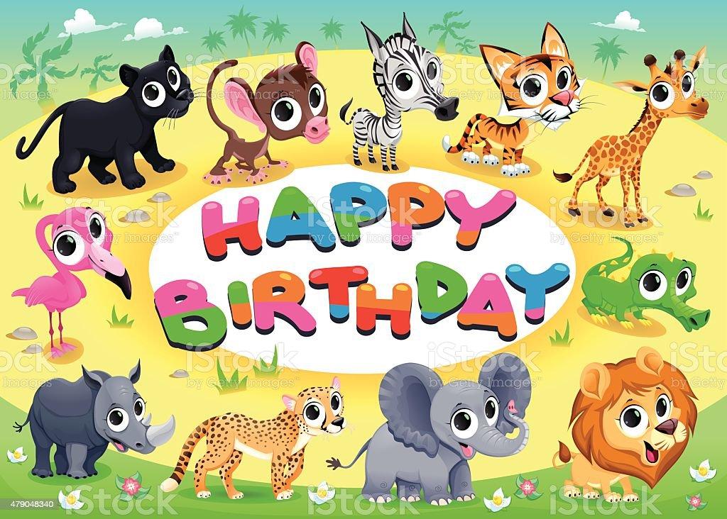 Carta Di Buon Compleanno Con Animali Della Giungla Immagini