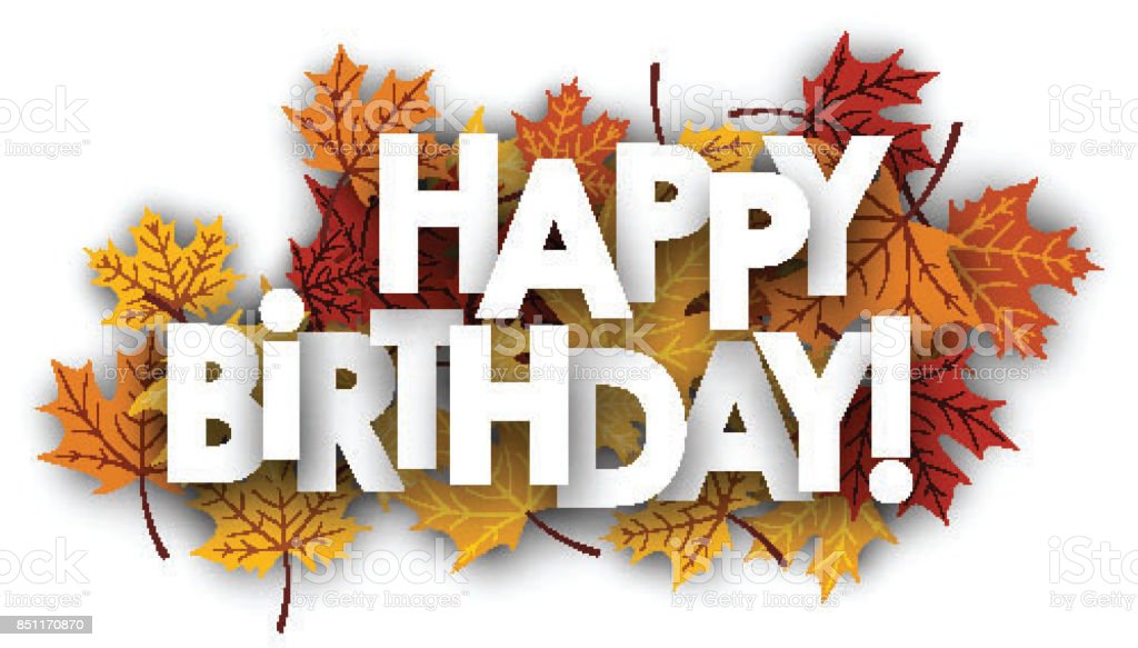 Happy Birthday Card With Leaves Stock Vector Art More Images Of