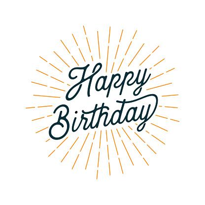 Happy Birthday Card with Light Rays