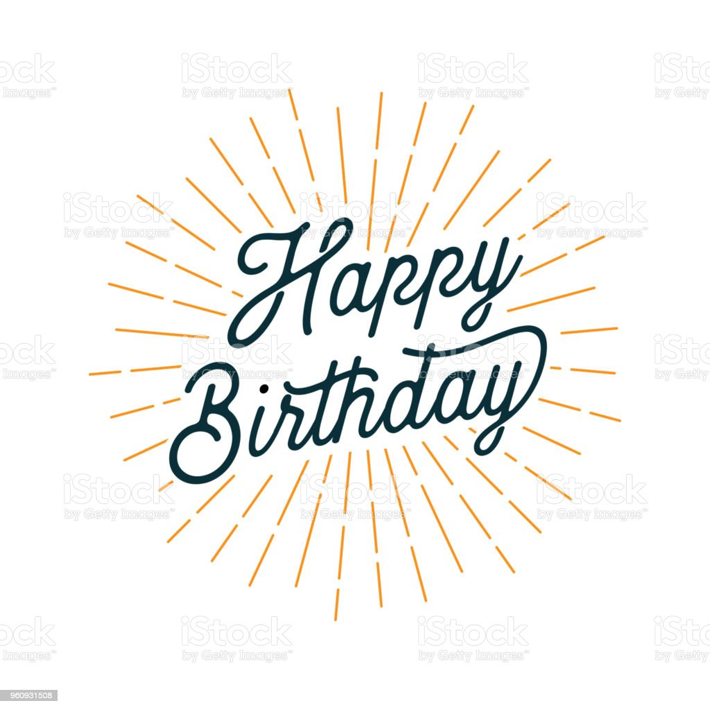 Happy Birthday Card with Light Rays vector art illustration