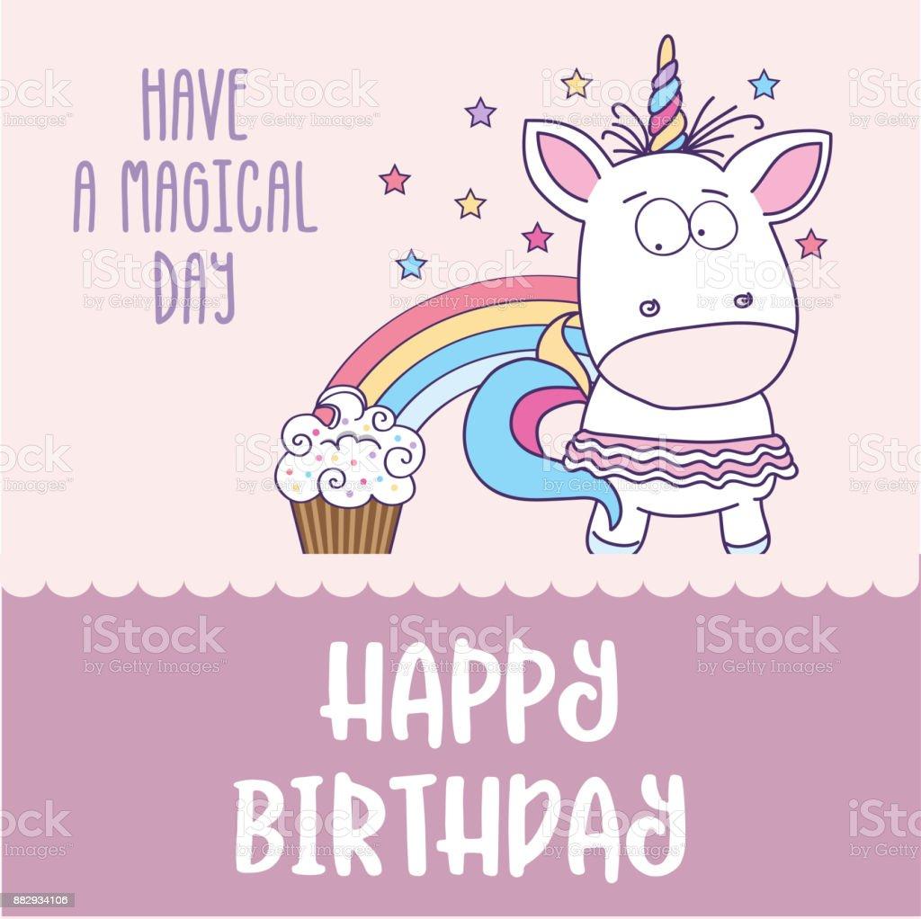 bebis grattis Grattis På Födelsedagskort Med Underbar Bebis Flicka Unicorn  bebis grattis