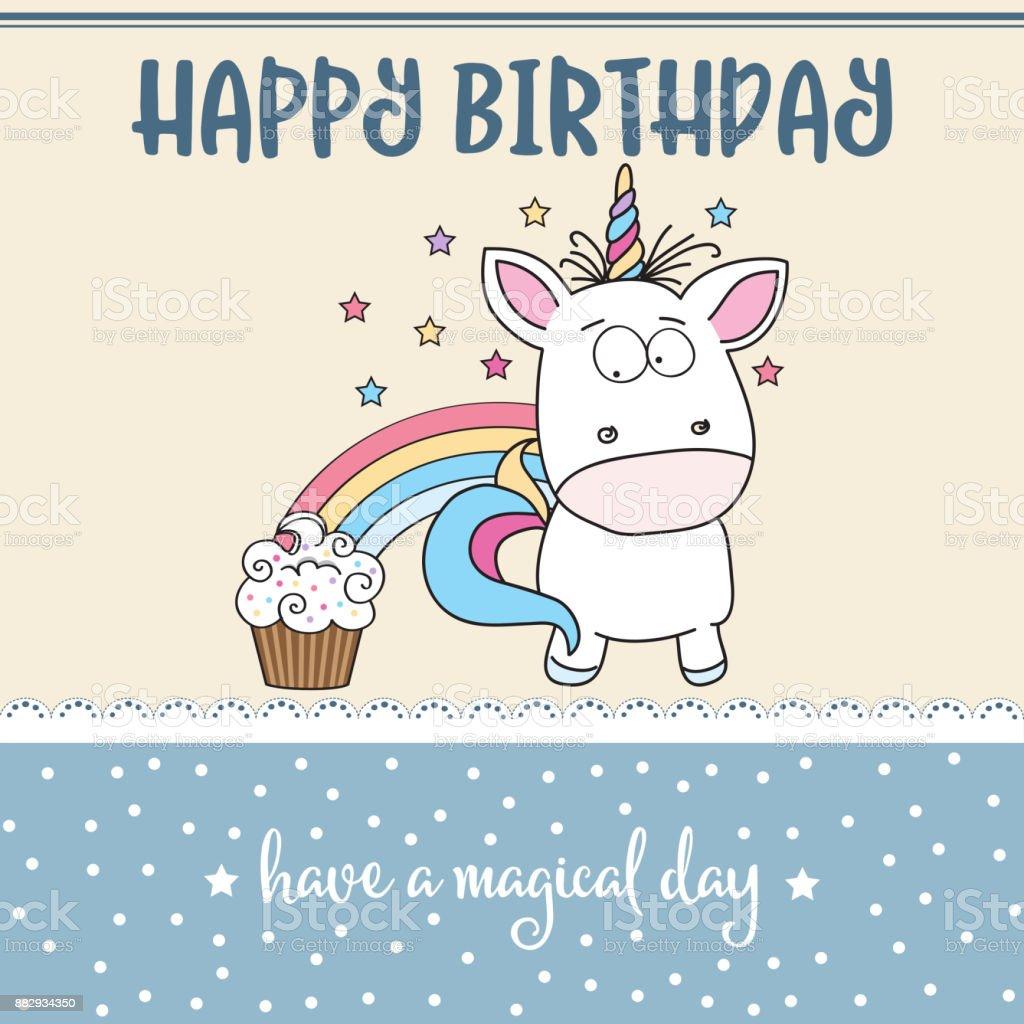 bebis grattis Grattis På Födelsedagskort Med Underbar Bebis Unicorn vektorgrafik  bebis grattis