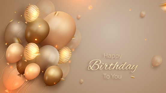 Happy birthday card with luxury balloons and ribbon. 3d realistic style.
