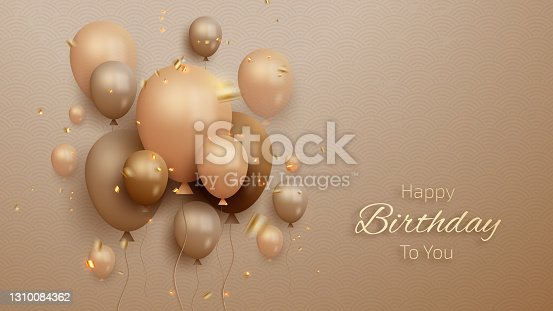istock Happy birthday card with luxury balloons and ribbon. 3d realistic style. 1310084362