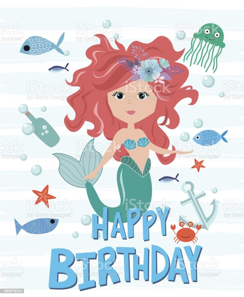 Happy birthday card with mermaid and sea life stock vector art happy birthday card with mermaid and sea life royalty free happy birthday card with mermaid bookmarktalkfo Images