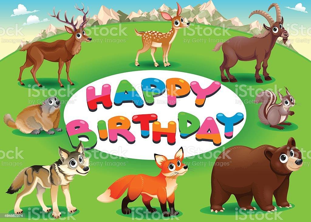Carte de joyeux anniversaire avec les animaux - Illustration vectorielle