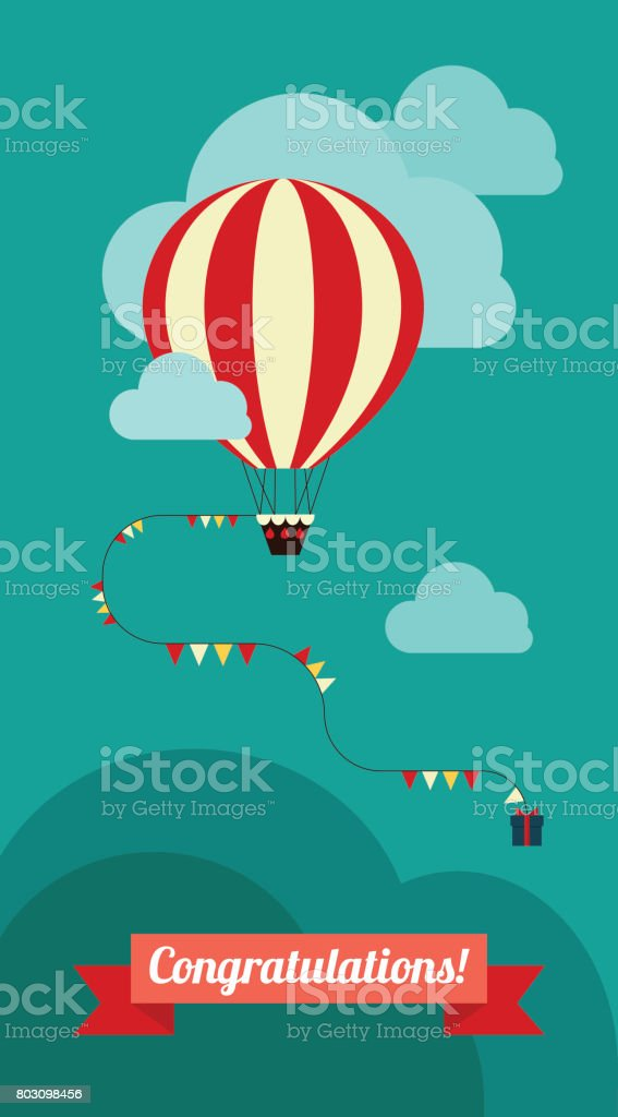Happy Birthday Card With Number 10 Candlevector Balloons