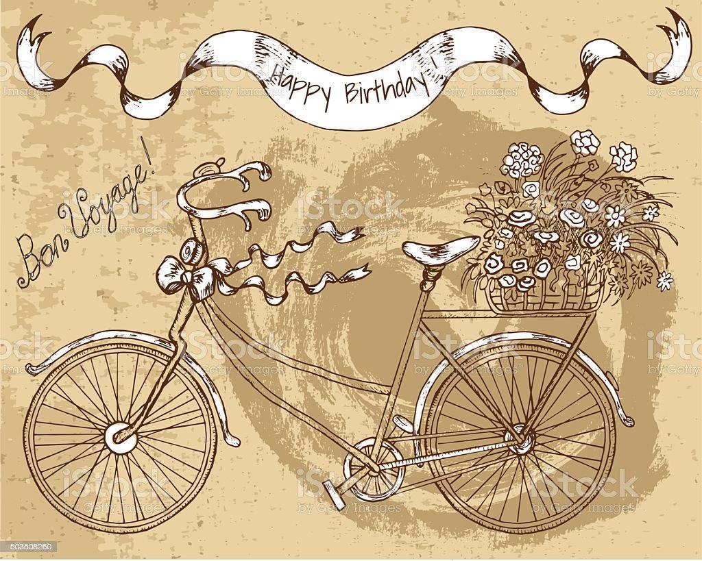 Buon Compleanno Carta Vecchia Bicicletta E Fiori Immagini