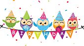Vector Illustration of Happy birthday card with owl and bunting flag