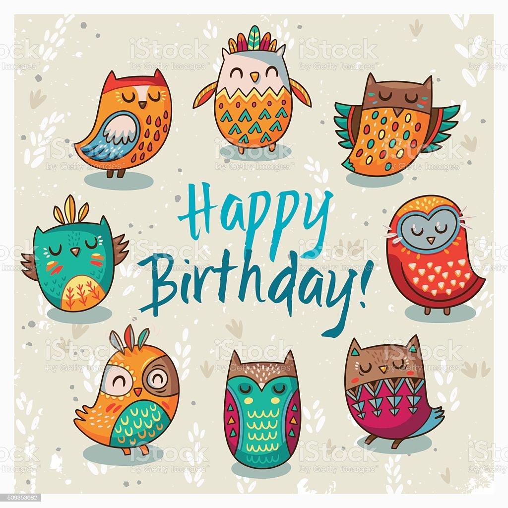 Happy Birthday Card With Owls Vector Illustration stock vector art – Birthday Card Art